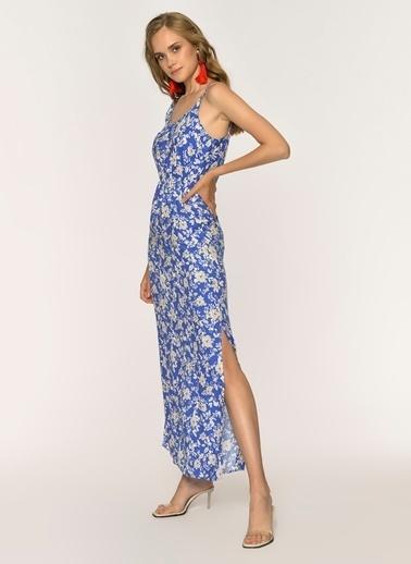 Loves You Askılı Çiçek Desenli Yırtmaçlı Elbise Mavi